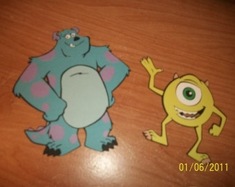 Sulley and Mike die cuts from monsters inc.