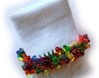 Kathy's Beaded Socks - Mexicana socks, colorful socks, tri bead socks, red bead socks, variegated socks