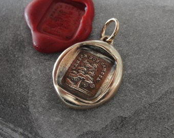Grow Don't Change Wax Seal Charm - antique Evergreen Tree wax seal jewelry pendant Italian motto by RQP Studio