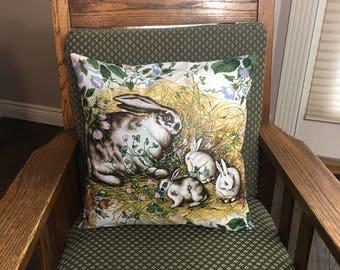 Bunnies Pillow Cover, Nursery Decor, Floral Pillow, Easter Gift Idea, 16 x 16, Couch Pillow, Cushion Cover, Decorative Pillow, Throw Pillow