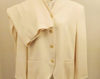 Vintage Lauren Winter White Pants Suit  Ralph Lauren Size 14