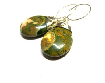 Rainforest Jasper Earrings, drop earrings, dangle earrings, wire wrap earrings, sterling silver, Rhyolite Jasper Earrings