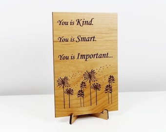 """Wood Card """"You is Loved"""" Greeting Card w/Easel, Say I LOVE YOU! Valentine"""