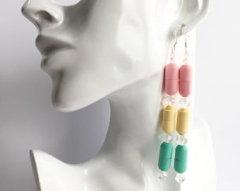 Long spring earrings. Bright spring colours. Eco-freindly. Paper beads & glass beads. Gift for her. Anniversary gift.