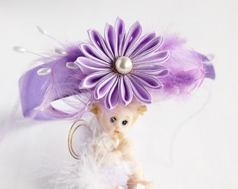 Lilac Girls Headband,  Flower Girl Hair Band, Kanzashi Headband, Lilac Head Piece, Lilac Flower Headband, Wedding Hair Band, Floral Headband