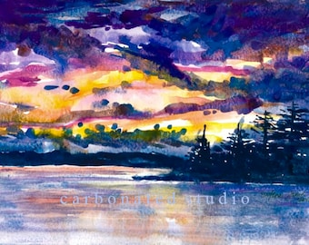 """Reprinted watercolor painting:  """"Sunset""""  4"""" X 6 1/4"""" blank folded card"""