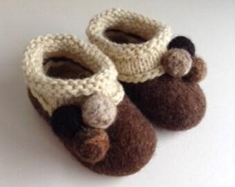 "The ""Pom-Pom"" Handmade Felted shoes size 2"