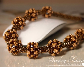 DIY jewelry making tutorial Beatrix necklace, RAW, Triangle weave tutorial, beading pattern