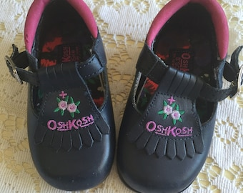 Vintage OshKosh Embroidered Mary Janes Size 3