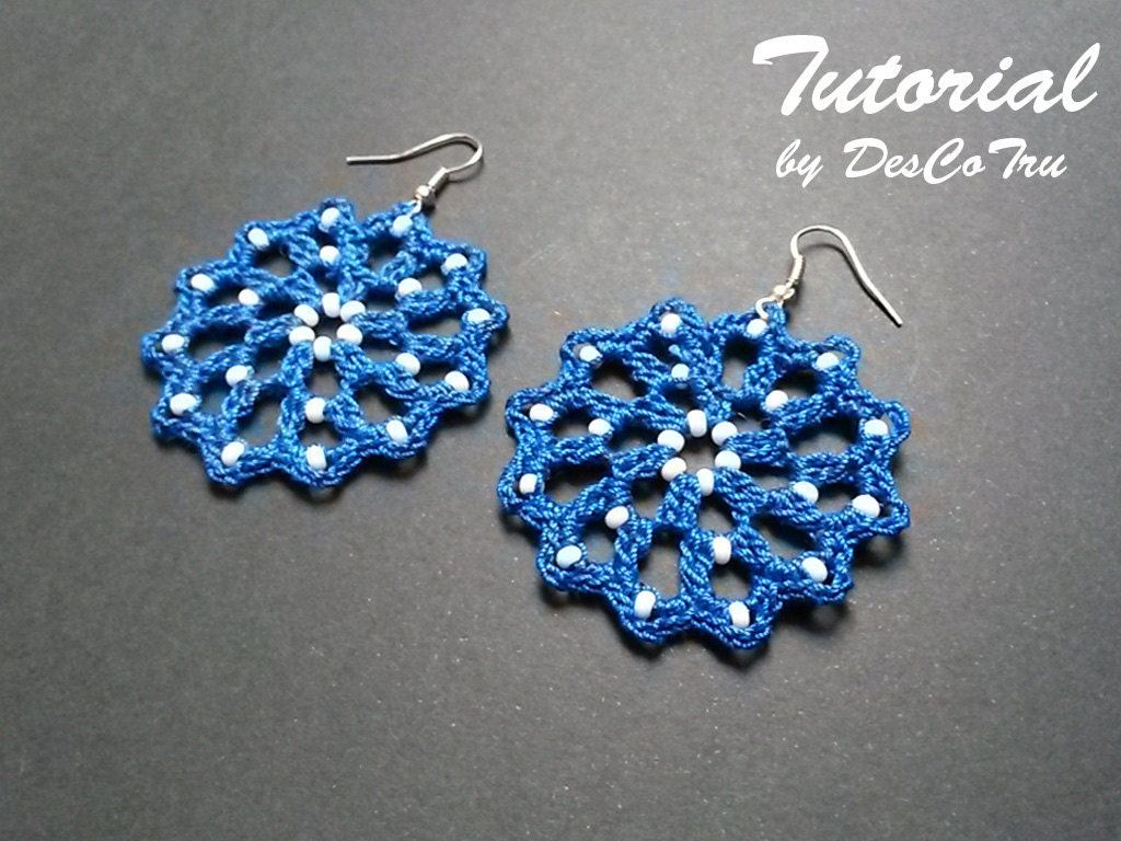 Crochet Earrings with Beads Tutorial – Do It Yourself – Make your ...