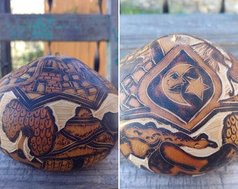 """Vintage Intricate Carved Etched Gourd Folk Art with Sun, Moon, and Star Along w/Farm Scenes measuring 4.25"""" x 3"""" ~ Rustic Boho Home Decor ~"""