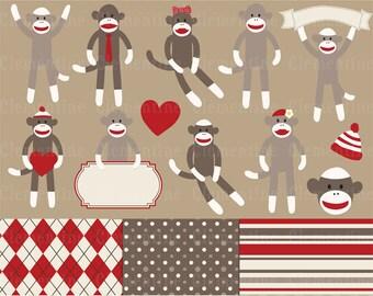 Sock monkey clip art images,  sock monkey clipart, sock monkey vector, royalty free clip art- Instant Download