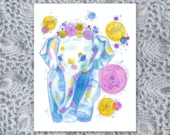 Floral Baby Elephant Watercolor Art Print and Postcard || Perfect for Elephant Lovers and Nursery || Hand-painted Artwork