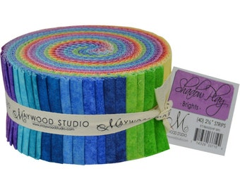 "Fabric Jelly Roll Rainbow Brights Maywood Studio Shadow Play - Precut fabric strips 40 strips 2.5"" wide - 100% Cotton Sushi Roll Strips"