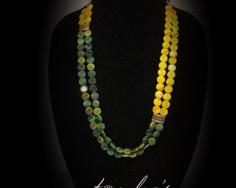 Yellow Green shell beads necklace