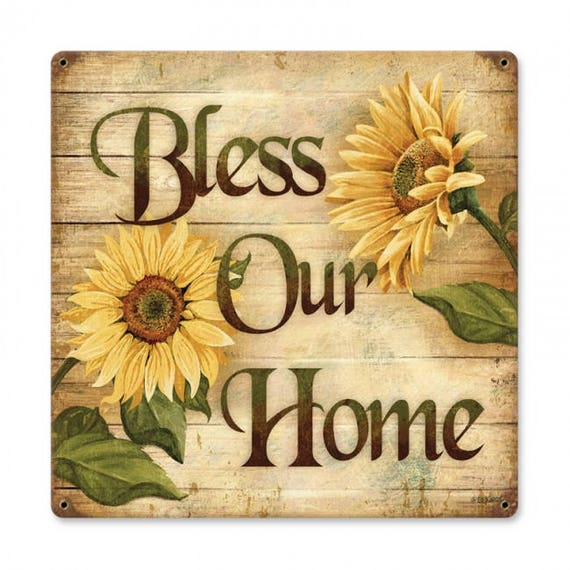 Bless our Home metal sign sunflowers home decor metal wall