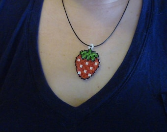 Hand made Delica glass Beaded Strawberry Charm