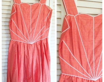 Stunning handmade silk daydress. 1950s, Amazing Condition, Vintage 1950's