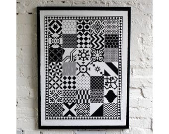 Black and White Tiles Screen Print