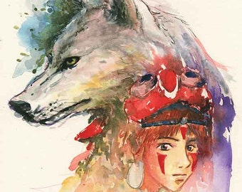 Princess Mononoke: San and Wolf (8x10), Studio Ghibli, Anime, art print, Watercolor, Fanart