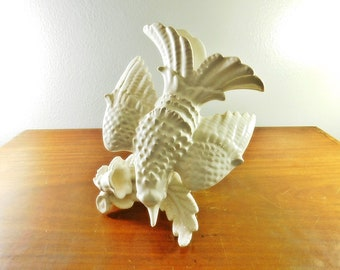 Vintage white figural bird vase made in Spain