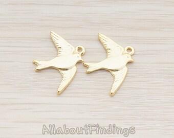 PDT143-MG // Matte Gold Plated Barn Swallow Bird Pendant, 2 Pc