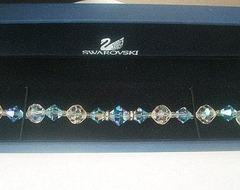 Swarovski Crystal Bracelet Rhinestone Rondels Blue & Aurora Borealis Clear