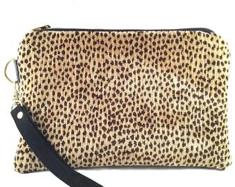 Cheetah Print Wristlet, Wristlet, Vegan Leather Wristlet, Clutch Purse, iPhone Wallet, Zipper Pouch, Gift for Her
