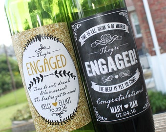 Personalized Engagement Wine Label // Newly Engaged Couple Gift // Engagement Gift // Congratulations // Friend or Family Engagement Party