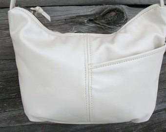 Creamy pearl color leather - beautiful leather purse- Brenda style- made in the USA