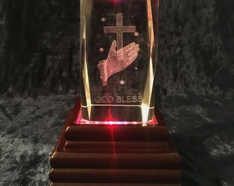 Vintage Laser Etched Crystal Praying Hands And Cross With  Light Base