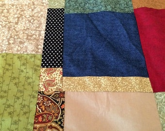 "FREE SHIPPING! 82"" X 70 "" Quilt Top Only - So Many Colors!  Denim, Paisley, Polka Dots"
