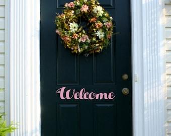 Welcome Vinyl Door Decal, Welcome Decal
