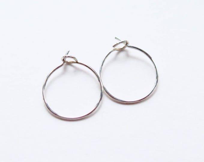 Tiny Hoops- Sterling Silver Hoop - Sterling Earrings - Handmade - Sleeper Hoops - Minimalist Hoops - 10% OFF - SALE - Free U.S. Ship & Track