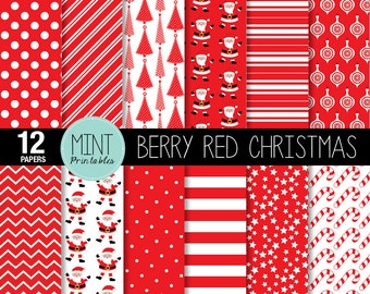 Christmas Digital Paper, Christmas Scrapbooking Paper, Red Patterned, Printable Sheets dots chevron stripes background - BUY 2 GET 1 FREE!