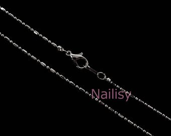 Set of 5 Silver 1.5 ball chain Choker necklaces mm REF827