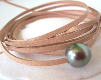 Leather and Tahitian Pearl Wrap Bracelet, Pearl and Leather Bracelet, Leather Choker Necklace, Pearl Bracelet, Leather and Pearl Jewelry