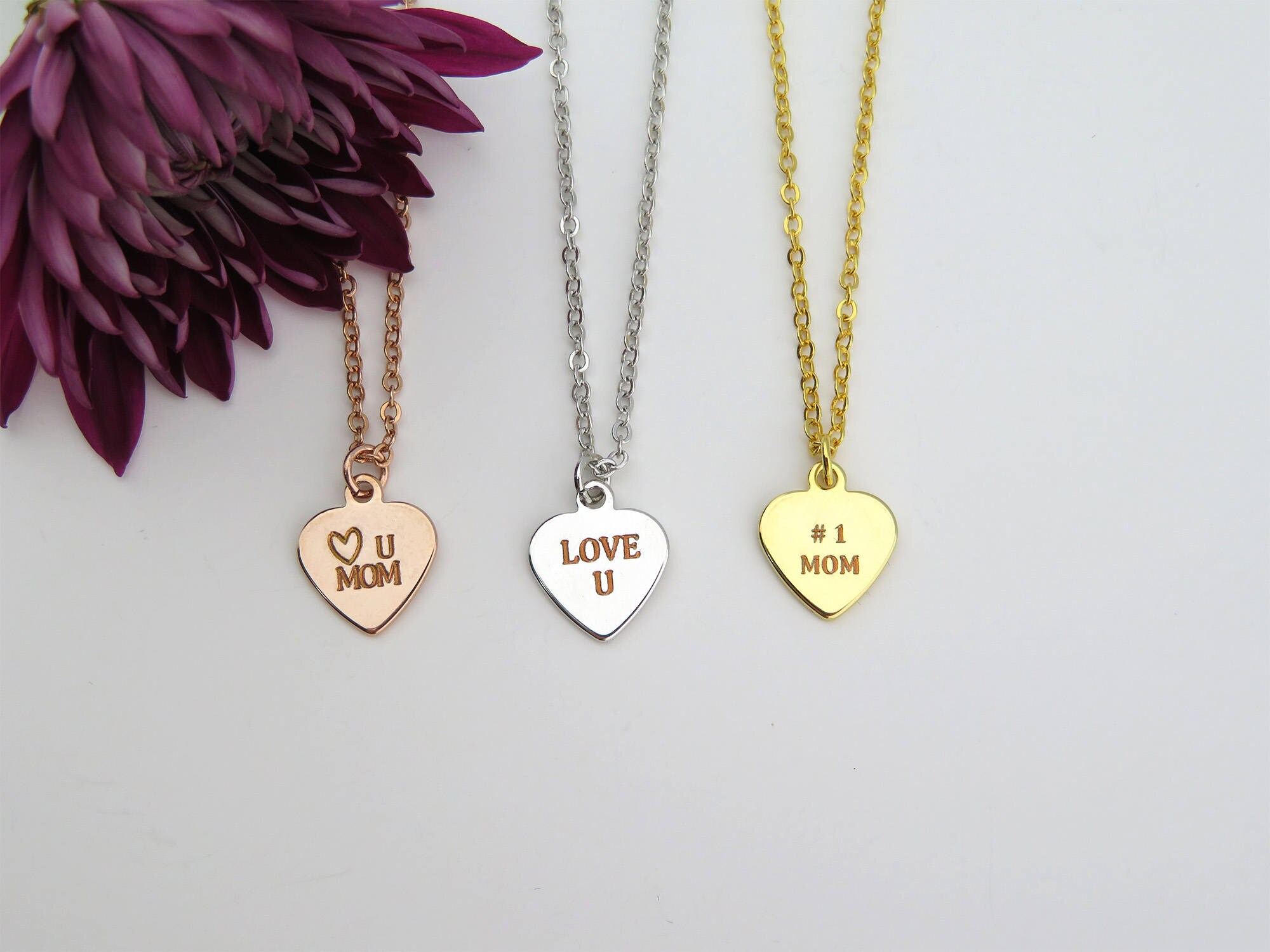 Mothers Day gift Heart Necklace Mom from Daughter Engraved Necklace
