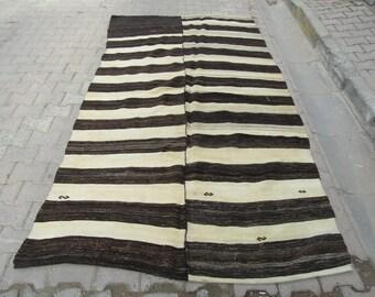 5.5x9.9 Ft Black and white striped vintage handwoven Turkish kilim rug