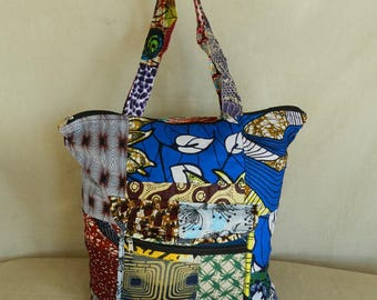 Baby and bag Tote with three pockets and zipper No. 25 fabric African cotton patchwork