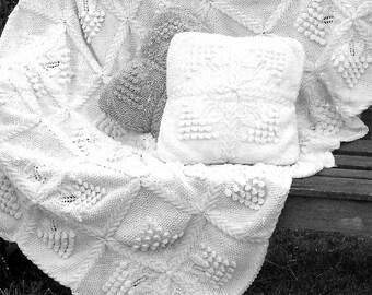 Instant PDF Digital Download aran  cushion & throw knitting pattern (23)