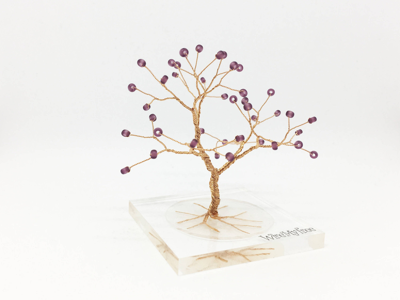 Ultra Violett Lila gold Draht Baum Statue Harz Plexiglas