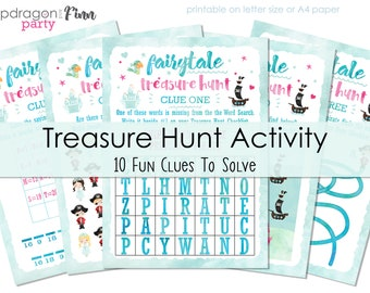 Pirate & Princess Birthday Party Game - Clue Solving Activity - Princess and Pirate Party Activity - Solve the Clues - Just Print and Play