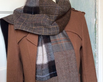 XL Dr. Who inspired tweed scarf, shawl, double-sided, wool, wool blend, patchwork, men, women, dapper, country style, English style, bespoke