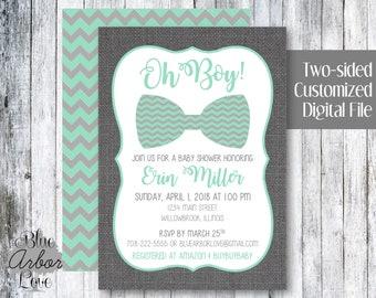 Oh Boy! Bowtie Baby Shower Birthday Party Invitation Printable Customized