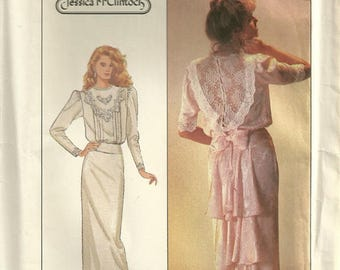 Simplicity 8224 Vintage Tucked Wedding Period Dress Bustle Flounce Sewing Pattern Size 8 Bust 31 1/2 - Jessica McClintock