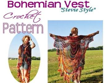 Boho Vest pattern - Crochet Bohemian Vest / Circle Vest / Bohemian Vest / Boho Crocheted Vest Pattern