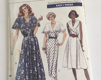 90s Vogue Dress Pattern 1990s Wrap Dress Pattern 7722 UNCUT Sizes 18 20 22
