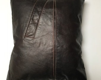 "Dark Brown Leather Accent Pillow 13""x15""  One of a kind"