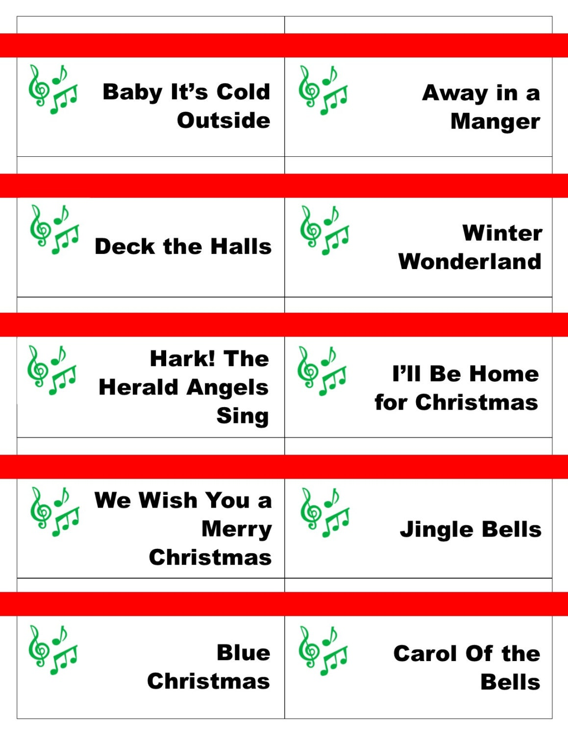 Printable Christmas Carol Game Cards for Pictionary or